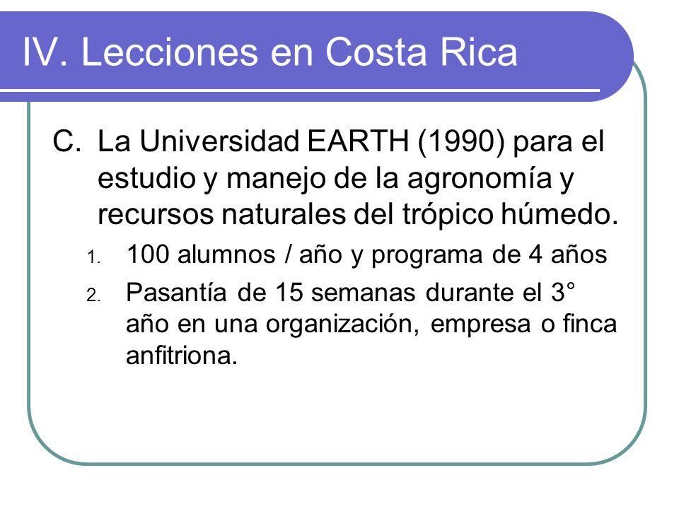 IV.Lecciones en Costa Rica C.