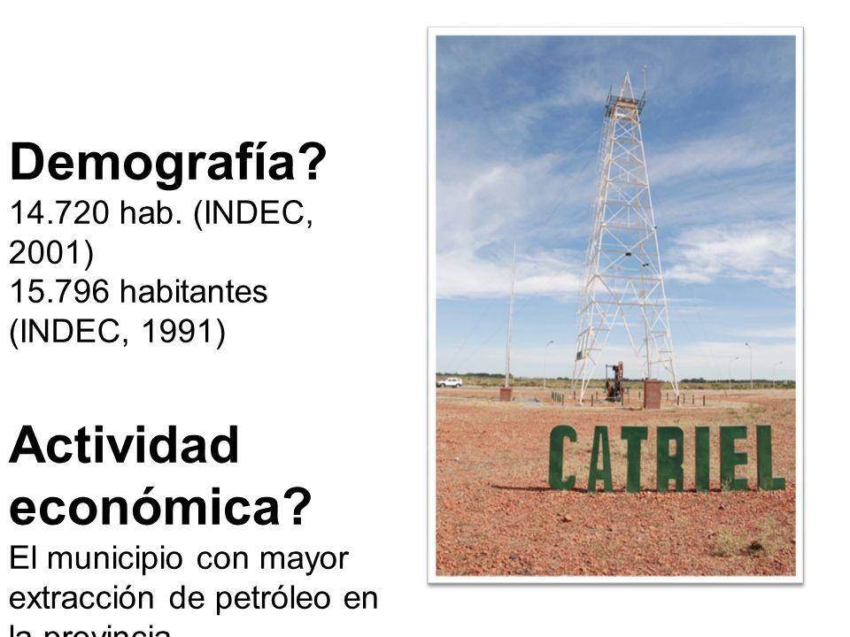 Demografía. 14.720 hab. (INDEC, 2001) 15.796 habitantes (INDEC, 1991) Actividad económica.