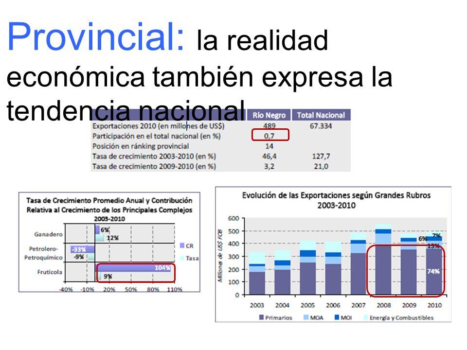 Provincial: la realidad económica también expresa la tendencia nacional