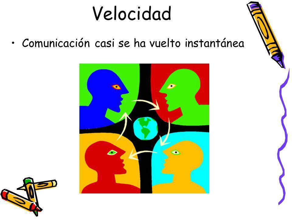 Velocidad Comunicación casi se ha vuelto instantánea