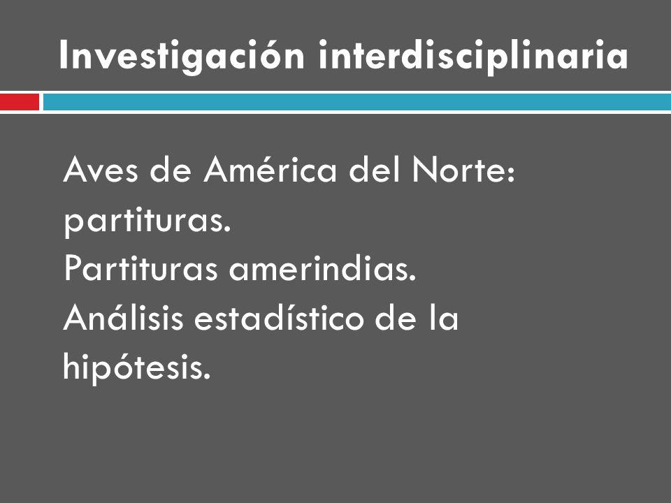 Investigación interdisciplinaria Aves de América del Norte: partituras.