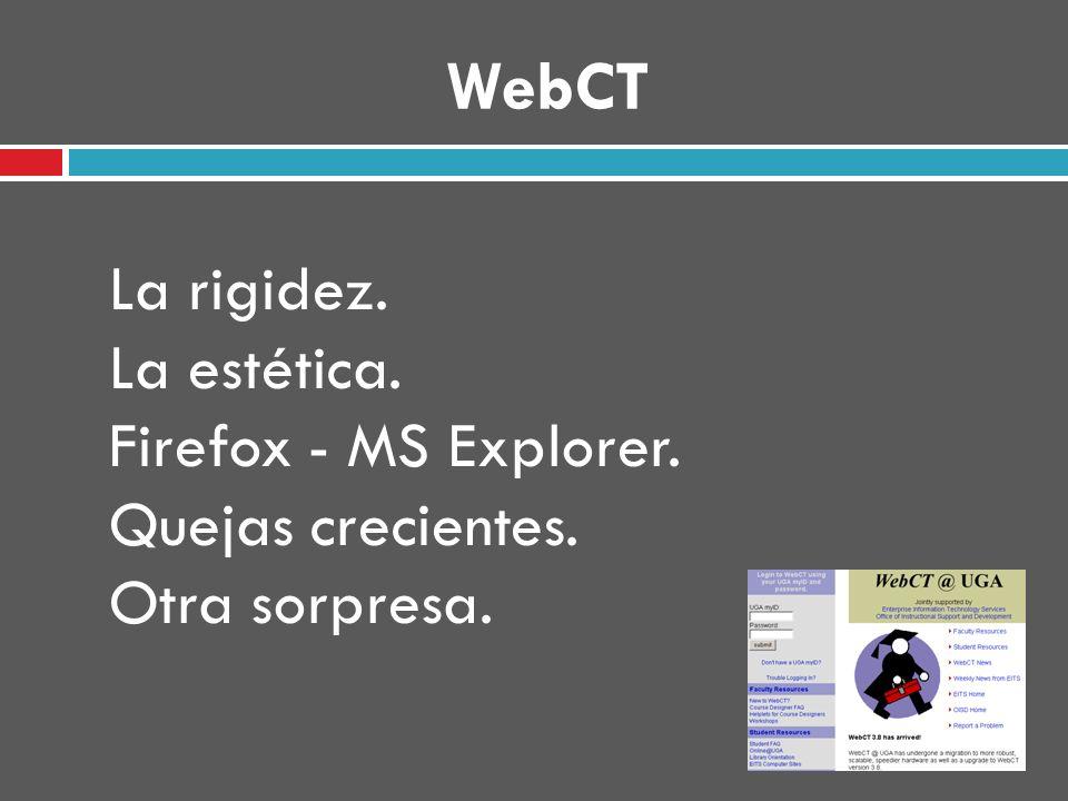 La rigidez. La estética. Firefox - MS Explorer. Quejas crecientes. Otra sorpresa.