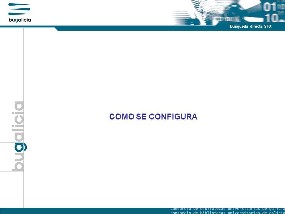 Introducción Puntos fuertes Búsqueda directa SFX COMO SE CONFIGURA