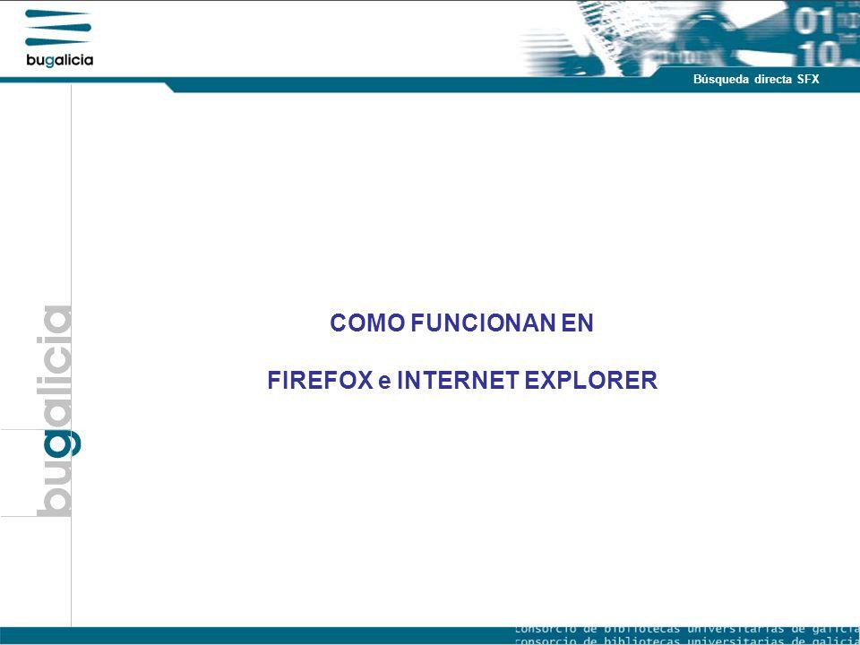 Introducción Puntos fuertes Búsqueda directa SFX COMO FUNCIONAN EN FIREFOX e INTERNET EXPLORER