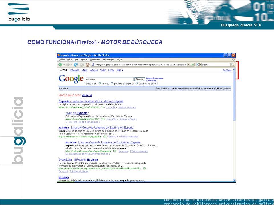 Introducción Puntos fuertes Búsqueda directa SFX COMO FUNCIONA (Firefox) - MOTOR DE BÚSQUEDA