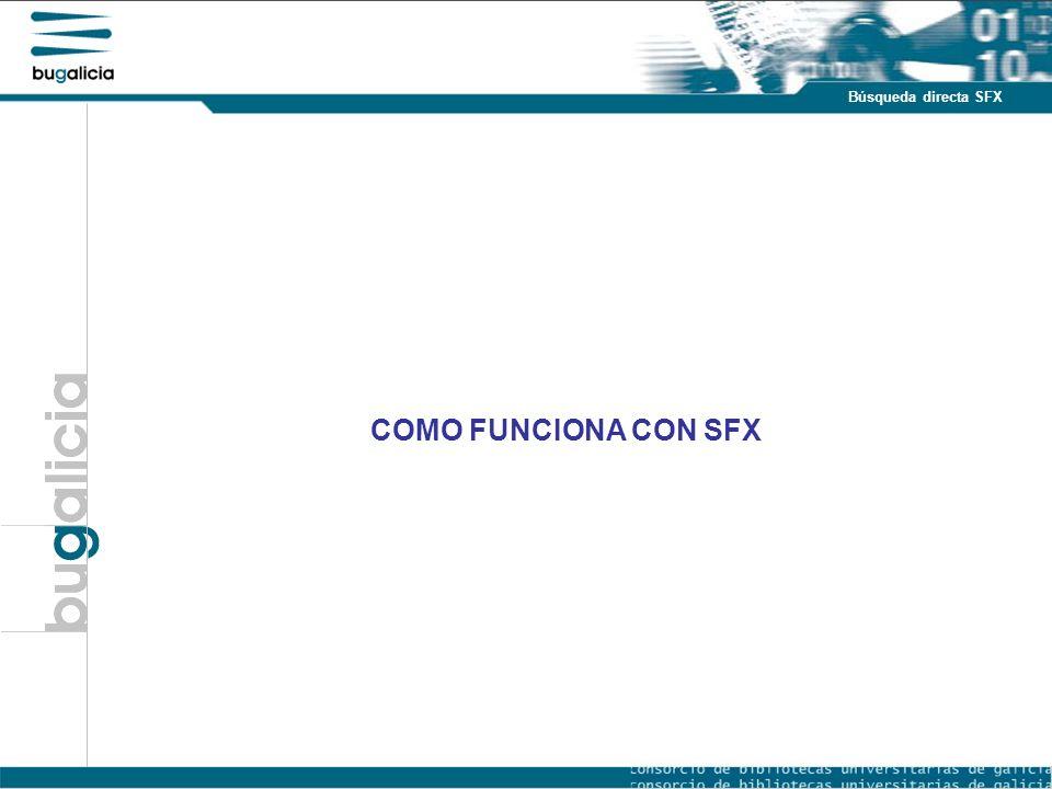 Introducción Puntos fuertes Búsqueda directa SFX COMO FUNCIONA CON SFX