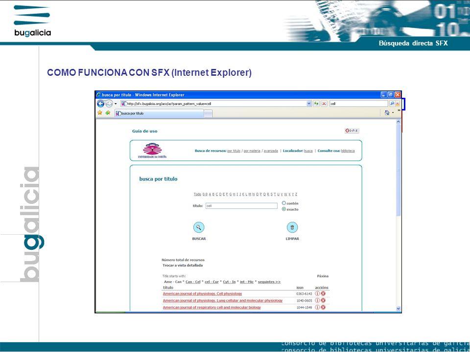 Introducción Puntos fuertes Búsqueda directa SFX COMO FUNCIONA CON SFX (Internet Explorer)