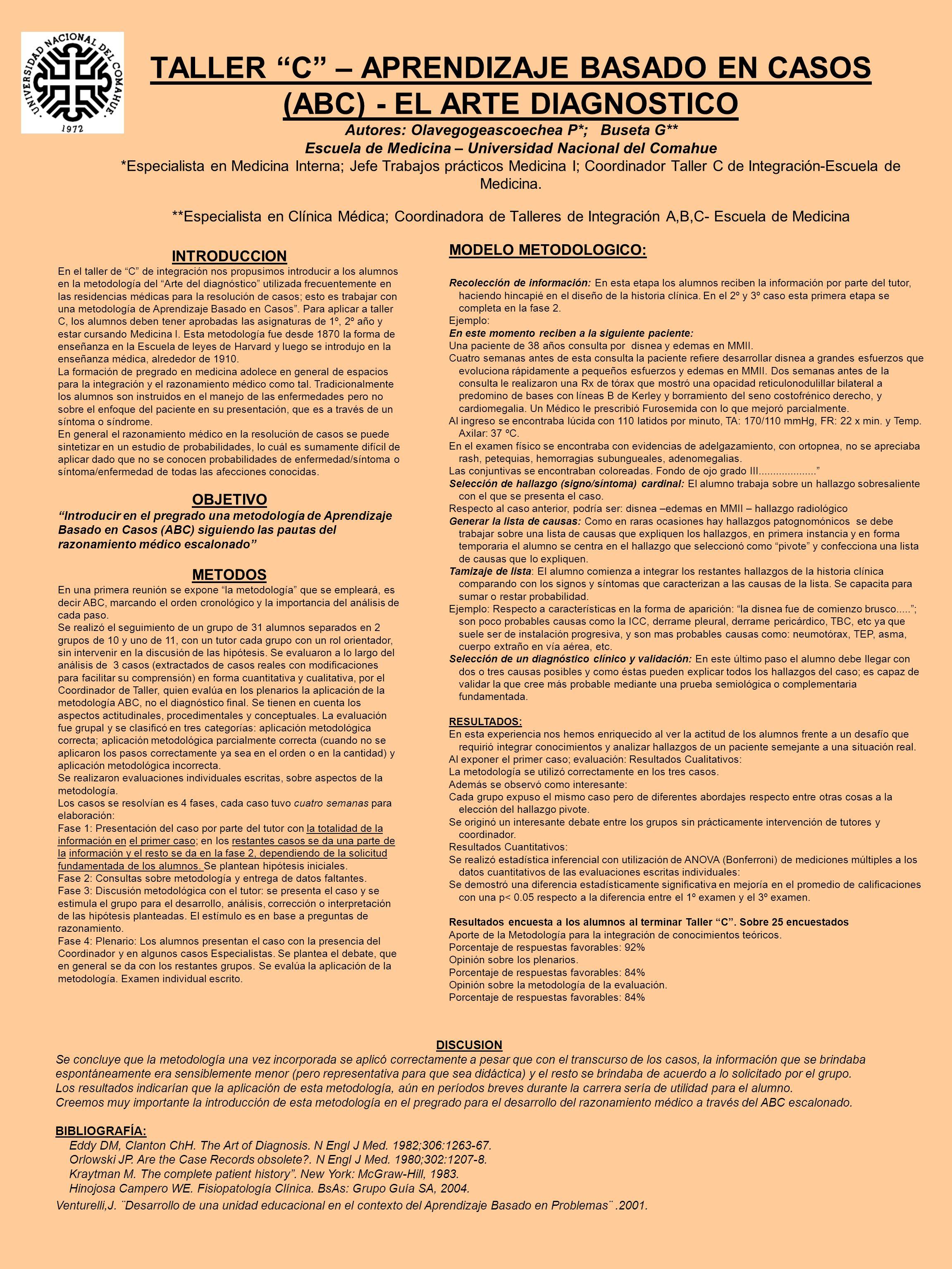 TALLER C – APRENDIZAJE BASADO EN CASOS (ABC) - EL ARTE DIAGNOSTICO Autores: Olavegogeascoechea P*; Buseta G** Escuela de Medicina – Universidad Nacional del Comahue *Especialista en Medicina Interna; Jefe Trabajos prácticos Medicina I; Coordinador Taller C de Integración-Escuela de Medicina.