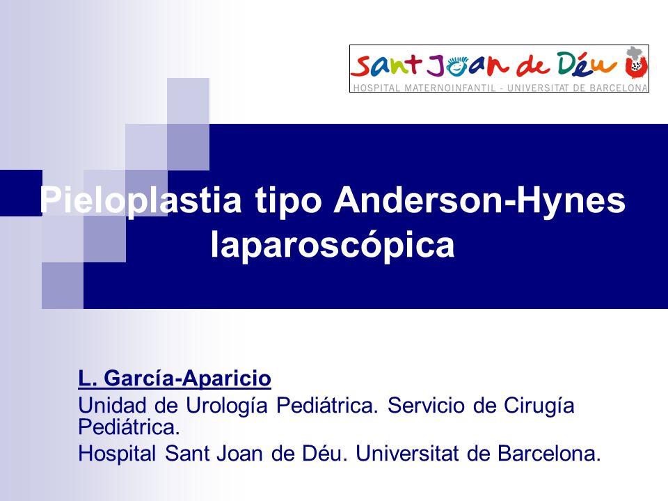 Pieloplastia tipo Anderson-Hynes laparoscópica L. García-Aparicio Unidad de Urología Pediátrica. Servicio de Cirugía Pediátrica. Hospital Sant Joan de