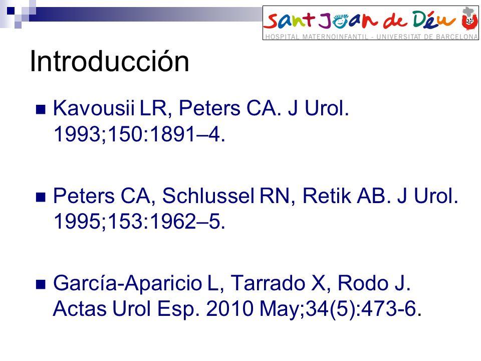 Introducción Kavousii LR, Peters CA. J Urol. 1993;150:1891–4. Peters CA, Schlussel RN, Retik AB. J Urol. 1995;153:1962–5. García-Aparicio L, Tarrado X