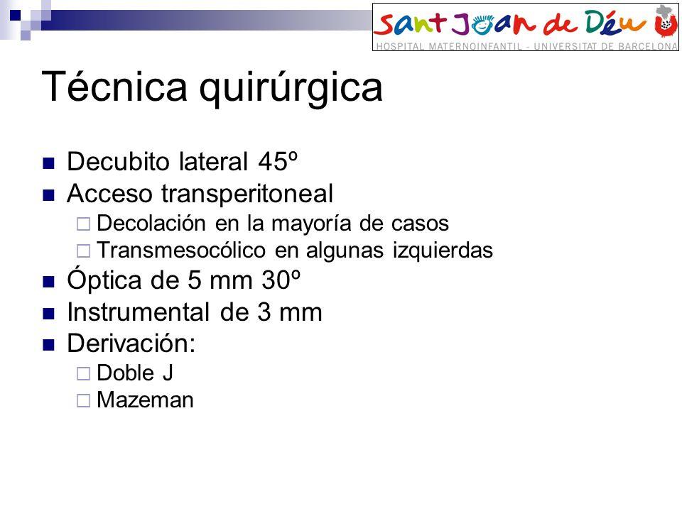 Técnica quirúrgica Decubito lateral 45º Acceso transperitoneal Decolación en la mayoría de casos Transmesocólico en algunas izquierdas Óptica de 5 mm