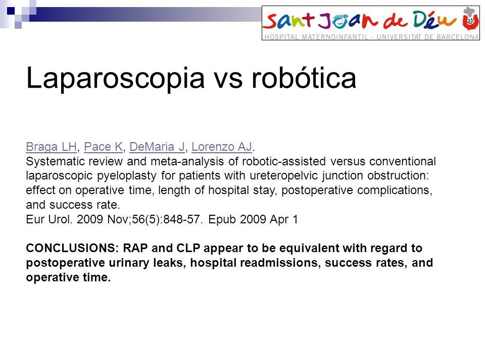 Braga LHBraga LH, Pace K, DeMaria J, Lorenzo AJ.Pace KDeMaria JLorenzo AJ Systematic review and meta-analysis of robotic-assisted versus conventional