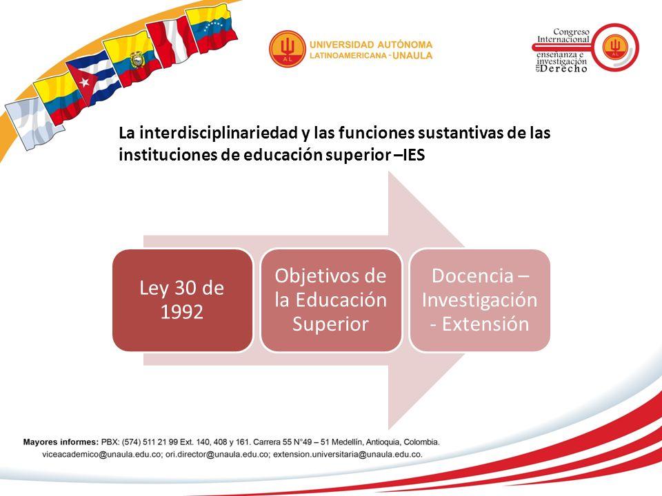 La interdisciplinariedad y las funciones sustantivas de las instituciones de educación superior –IES Ley 30 de 1992 Objetivos de la Educación Superior