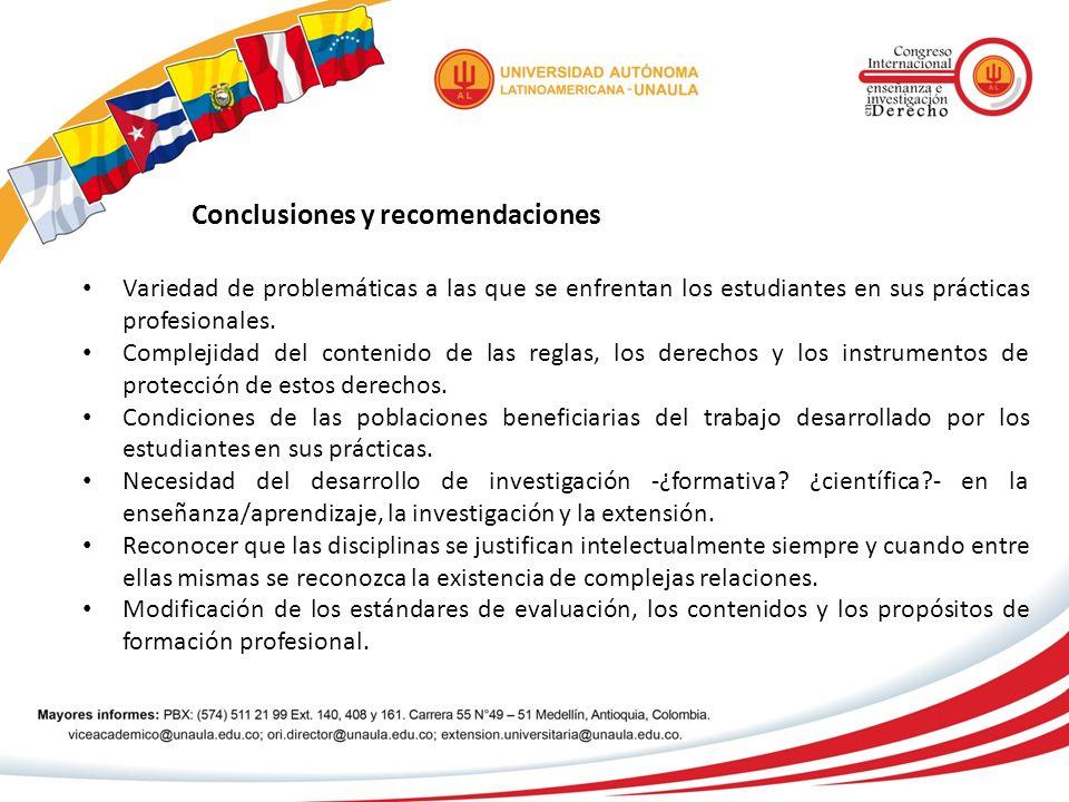 Conclusiones y recomendaciones Variedad de problemáticas a las que se enfrentan los estudiantes en sus prácticas profesionales. Complejidad del conten