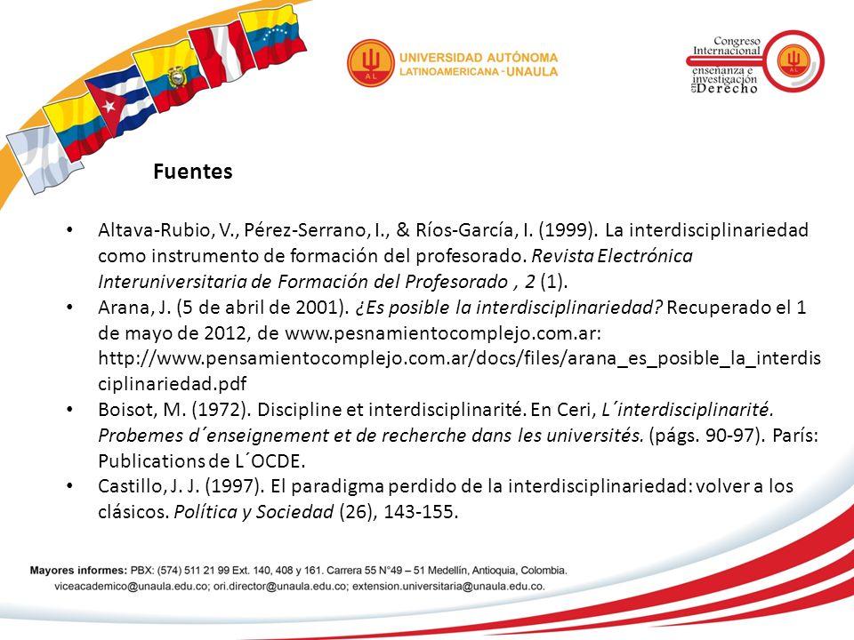 Fuentes Altava-Rubio, V., Pérez-Serrano, I., & Ríos-García, I. (1999). La interdisciplinariedad como instrumento de formación del profesorado. Revista