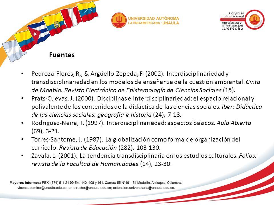 Fuentes Pedroza-Flores, R., & Argüello-Zepeda, F. (2002). Interdisciplinariedad y transdisciplinariedad en los modelos de enseñanza de la cuestión amb
