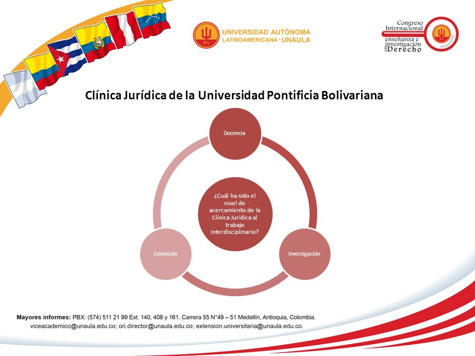 Clínica Jurídica de la Universidad Pontificia Bolivariana ¿Cuál ha sido el nivel de acercamiento de la Clínica Jurídica al trabajo interdisciplinario?
