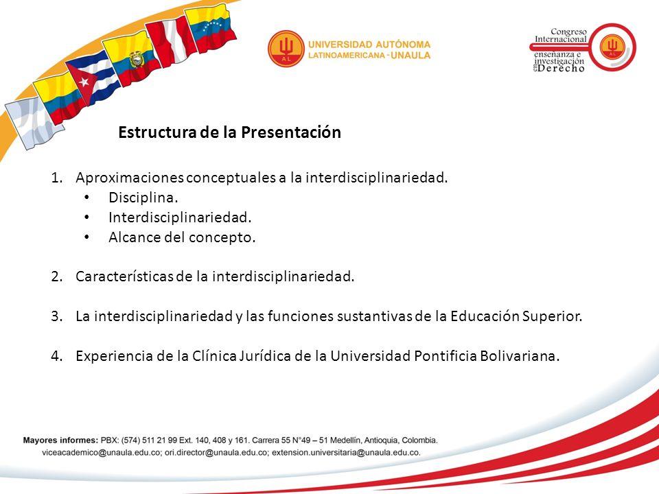 Estructura de la Presentación 1.Aproximaciones conceptuales a la interdisciplinariedad. Disciplina. Interdisciplinariedad. Alcance del concepto. 2.Car