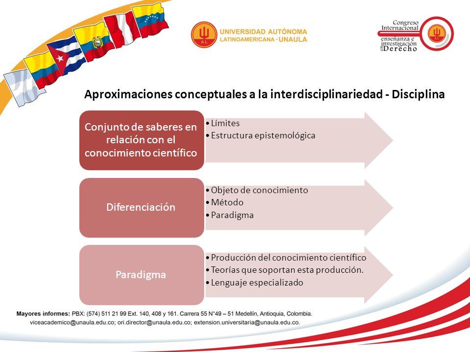 Aproximaciones conceptuales a la interdisciplinariedad - Disciplina Límites Estructura epistemológica Conjunto de saberes en relación con el conocimie