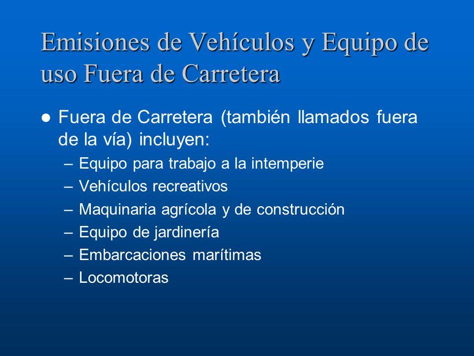 Emisiones de Vehículos y Equipo de uso Fuera de Carretera Fuera de Carretera (también llamados fuera de la vía) incluyen: –Equipo para trabajo a la in