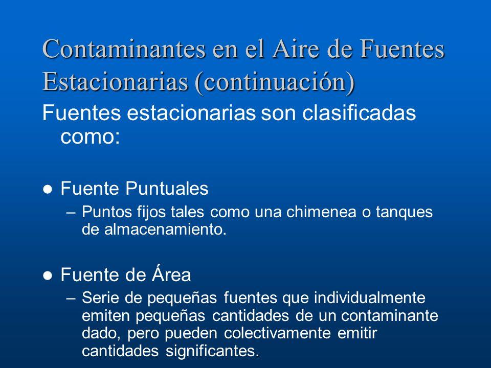 Contaminantes en el Aire de Fuentes Estacionarias (continuación) Fuentes estacionarias son clasificadas como: Fuente Puntuales –Puntos fijos tales com