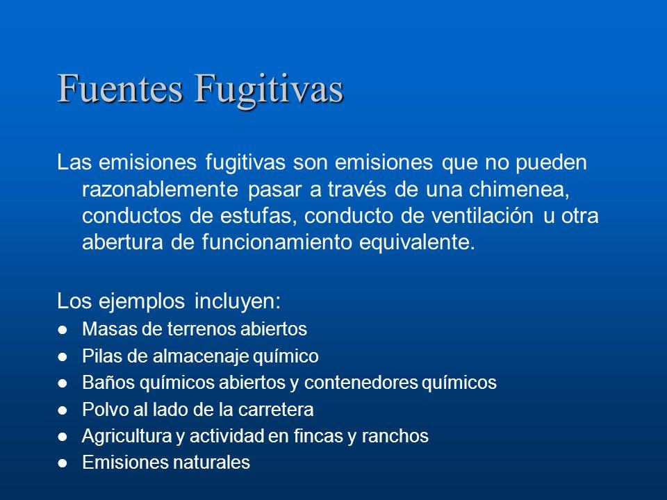 Fuentes Fugitivas Las emisiones fugitivas son emisiones que no pueden razonablemente pasar a través de una chimenea, conductos de estufas, conducto de