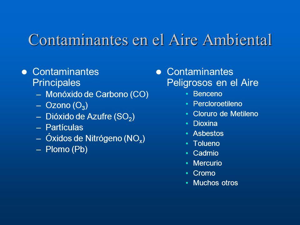 Contaminantes en el Aire Ambiental Contaminantes Principales –Monóxido de Carbono (CO) –Ozono (O 3 ) –Dióxido de Azufre (SO 2 ) –Partículas –Óxidos de