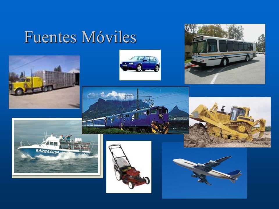 Fuentes Móviles de uso en Carretera Los vehículos utilizados en carreteras para el transporte de pasajeros o carga de mercancías, incluyendo: –Vehículos de carga liviana (automóviles de pasajeros), –Vehículos de carga pesada, y –motocicletas.