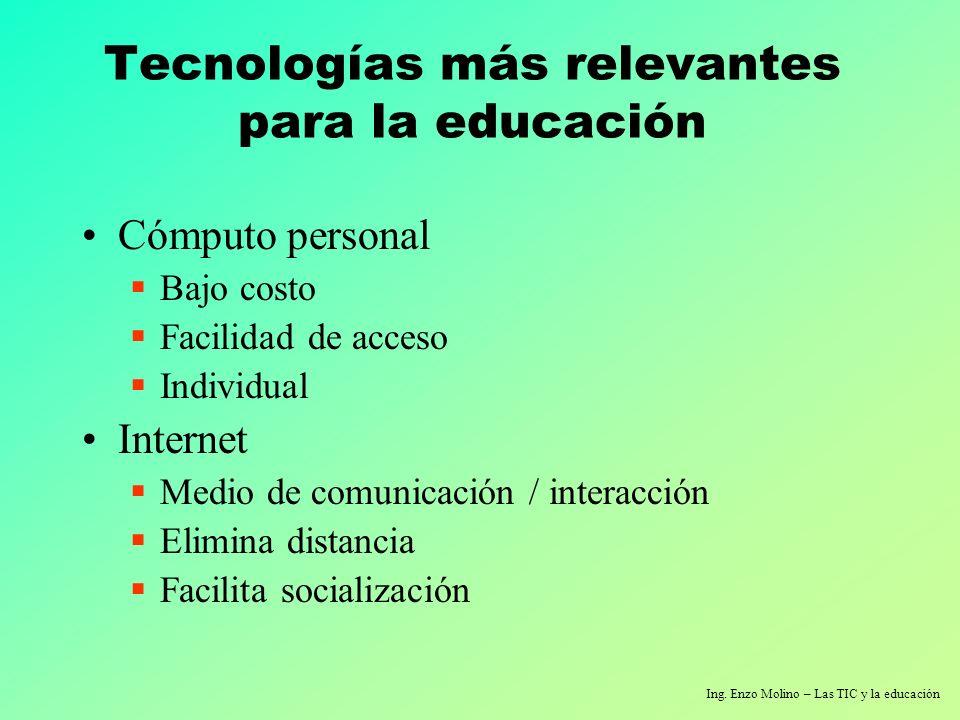 Ing. Enzo Molino – Las TIC y la educación Tecnologías más relevantes para la educación Cómputo personal Bajo costo Facilidad de acceso Individual Inte