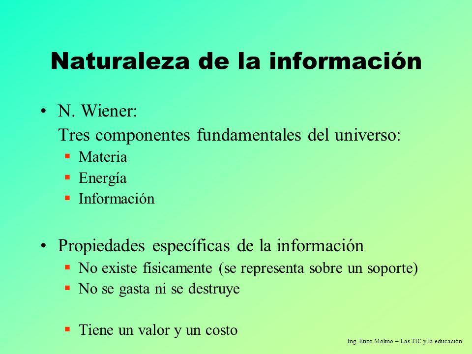 Ing. Enzo Molino – Las TIC y la educación Naturaleza de la información N. Wiener: Tres componentes fundamentales del universo: Materia Energía Informa