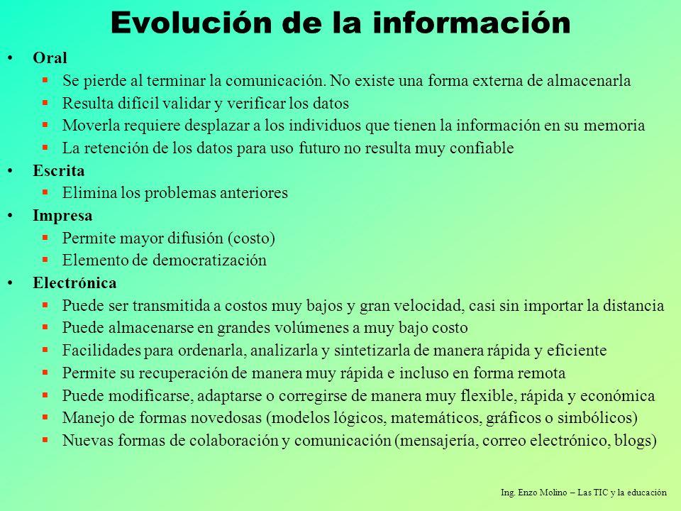 Ing. Enzo Molino – Las TIC y la educación Evolución de la información Oral Se pierde al terminar la comunicación. No existe una forma externa de almac