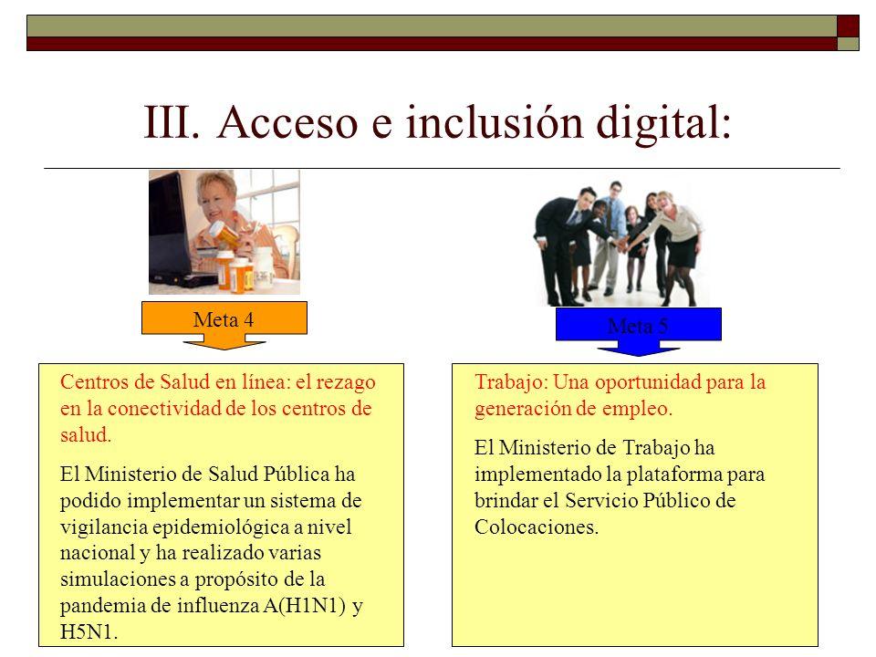 III. Acceso e inclusión digital: Meta 4 Meta 5 Centros de Salud en línea: el rezago en la conectividad de los centros de salud. El Ministerio de Salud