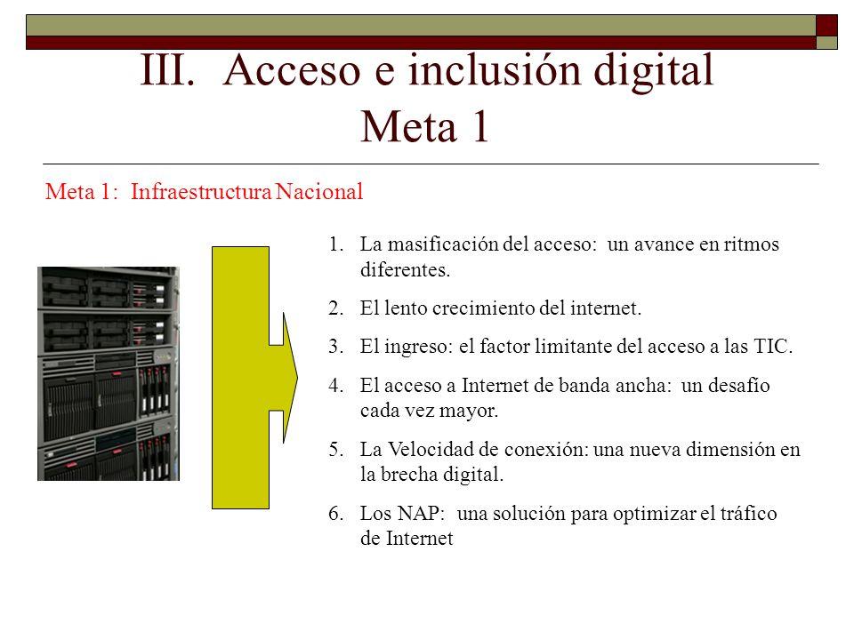 III. Acceso e inclusión digital Meta 1 Meta 1: Infraestructura Nacional 1.La masificación del acceso: un avance en ritmos diferentes. 2.El lento creci