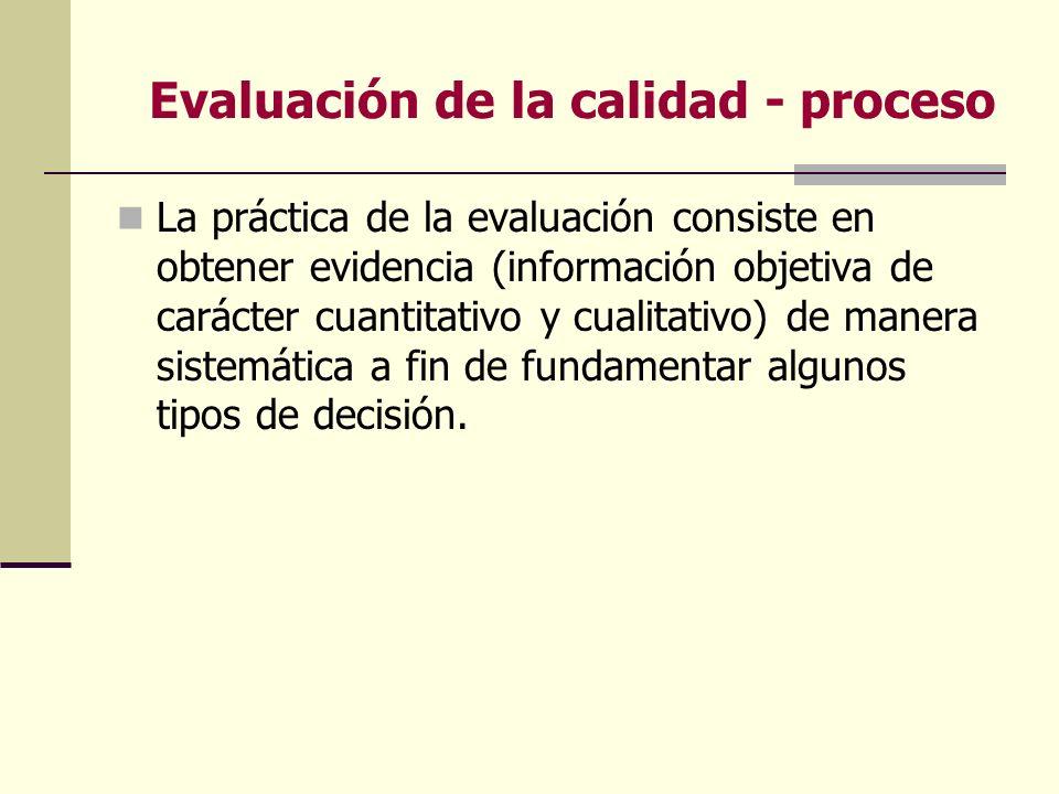 Evaluación de la calidad - proceso La práctica de la evaluación consiste en obtener evidencia (información objetiva de carácter cuantitativo y cualita