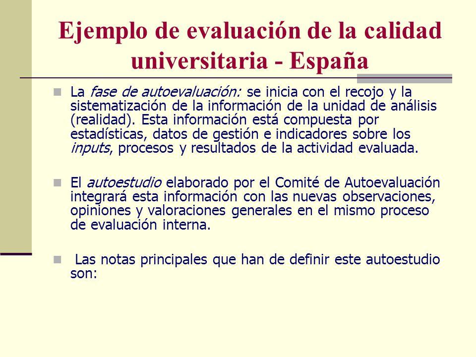 Ejemplo de evaluación de la calidad universitaria - España La fase de autoevaluación: se inicia con el recojo y la sistematización de la información d