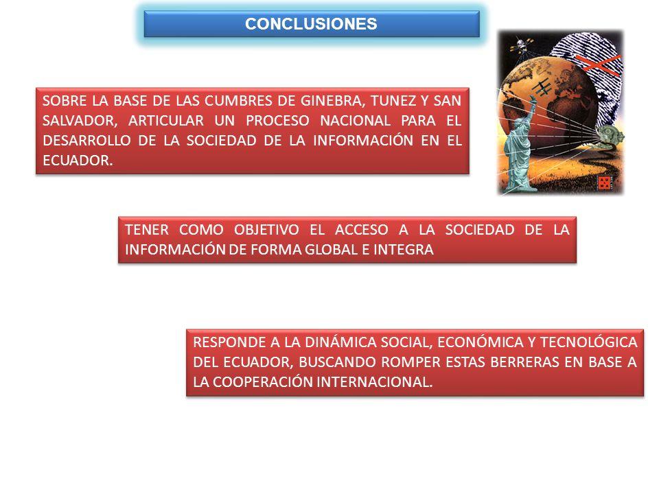 CONCLUSIONES SOBRE LA BASE DE LAS CUMBRES DE GINEBRA, TUNEZ Y SAN SALVADOR, ARTICULAR UN PROCESO NACIONAL PARA EL DESARROLLO DE LA SOCIEDAD DE LA INFO