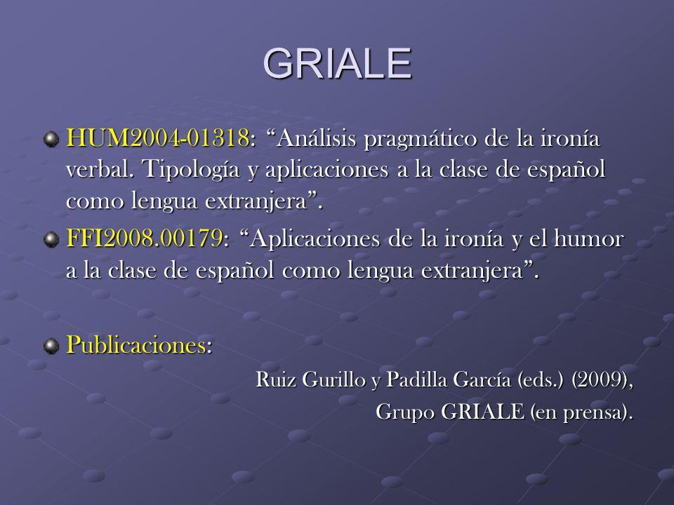 GRIALE HUM2004-01318: Análisis pragmático de la ironía verbal. Tipología y aplicaciones a la clase de español como lengua extranjera. FFI2008.00179: A