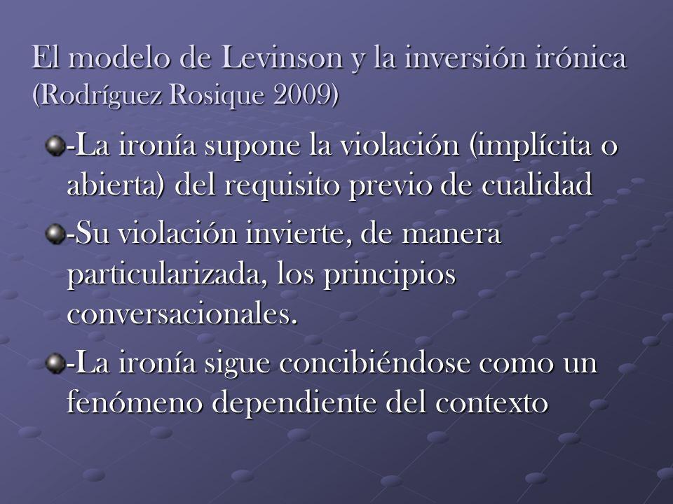 El modelo de Levinson y la inversión irónica (Rodríguez Rosique 2009) -La ironía supone la violación (implícita o abierta) del requisito previo de cua