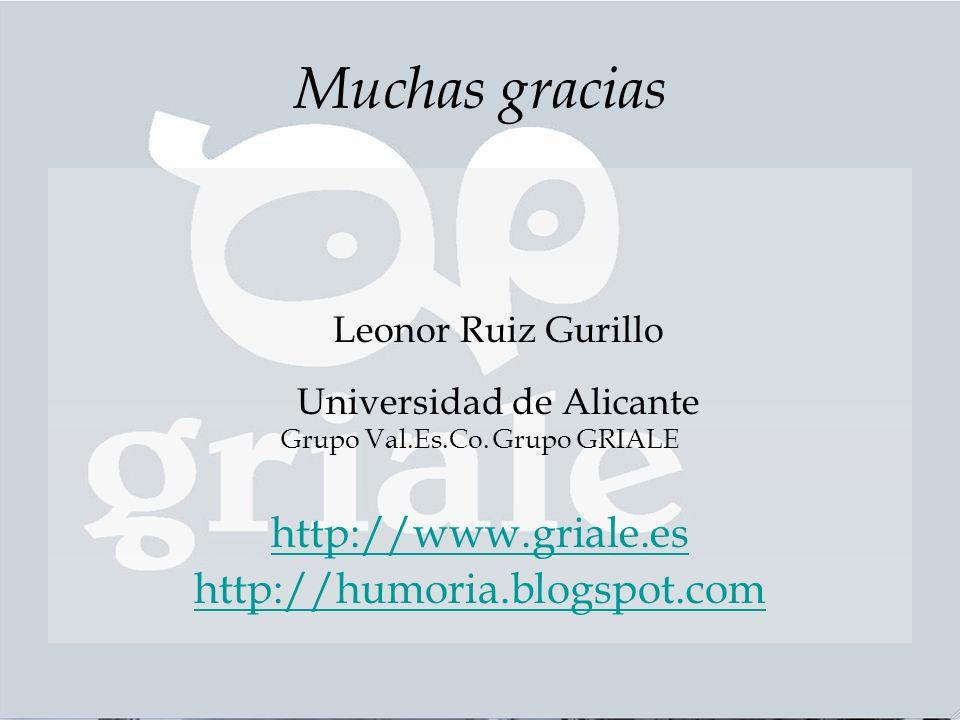 Muchas gracias Leonor Ruiz Gurillo Universidad de Alicante Grupo Val.Es.Co.