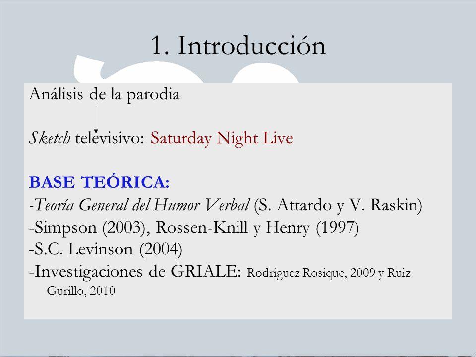 1. Introducción Análisis de la parodia Sketch televisivo: Saturday Night Live BASE TEÓRICA: -Teoría General del Humor Verbal (S. Attardo y V. Raskin)