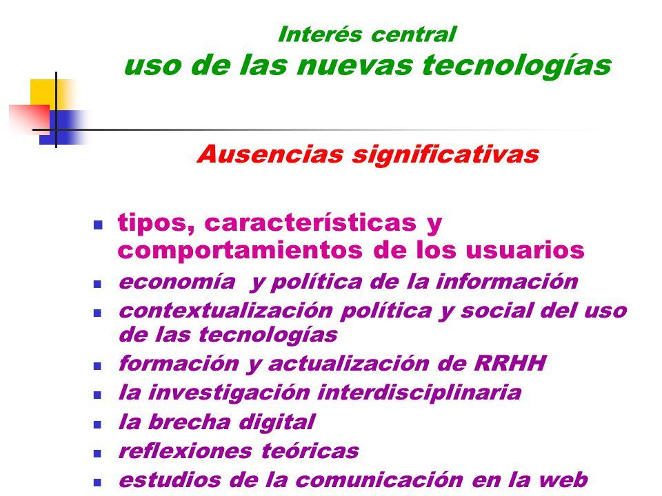 Interés central uso de las nuevas tecnologías Ausencias significativas tipos, características y comportamientos de los usuarios economía y política de