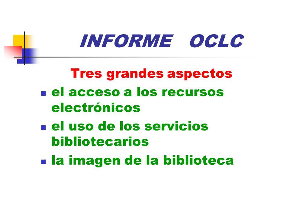 INFORME OCLC Tres grandes aspectos el acceso a los recursos electrónicos el uso de los servicios bibliotecarios la imagen de la biblioteca