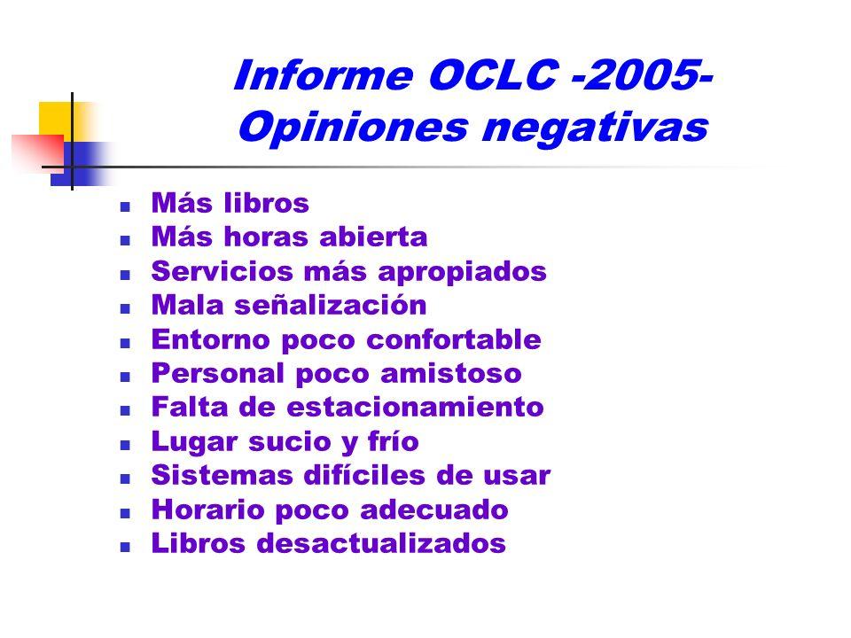 Informe OCLC -2005- Opiniones negativas Más libros Más horas abierta Servicios más apropiados Mala señalización Entorno poco confortable Personal poco