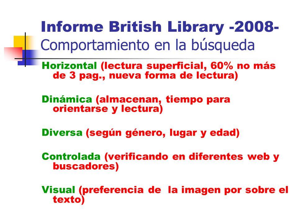 Informe British Library -2008- Comportamiento en la búsqueda Horizontal (lectura superficial, 60% no más de 3 pag., nueva forma de lectura) Dinámica (