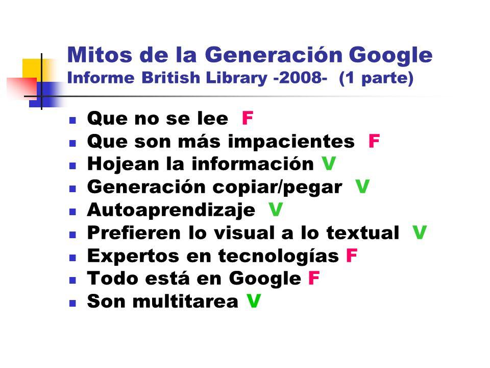 Mitos de la Generación Google Informe British Library -2008- (1 parte) Que no se lee F Que son más impacientes F Hojean la información V Generación co