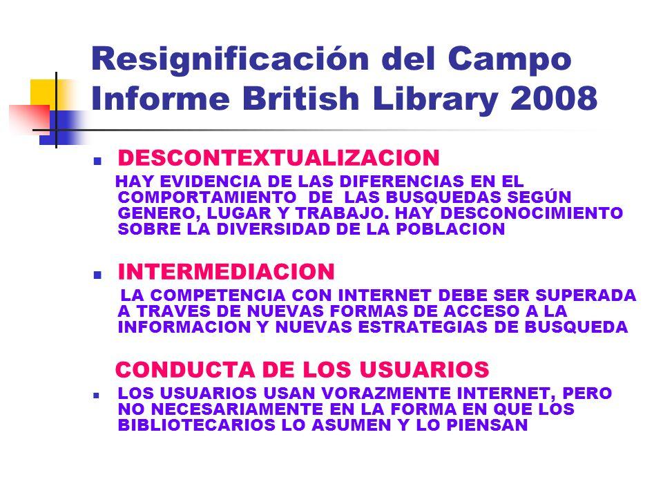 Resignificación del Campo Informe British Library 2008 DESCONTEXTUALIZACION HAY EVIDENCIA DE LAS DIFERENCIAS EN EL COMPORTAMIENTO DE LAS BUSQUEDAS SEG