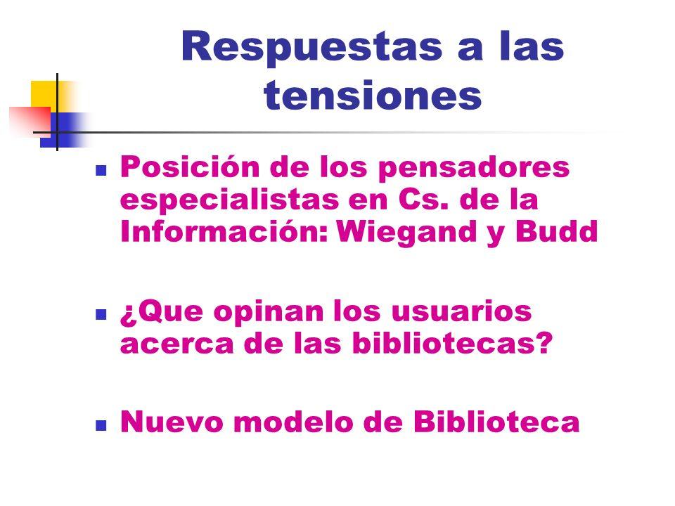 Respuestas a las tensiones Posición de los pensadores especialistas en Cs. de la Información: Wiegand y Budd ¿Que opinan los usuarios acerca de las bi