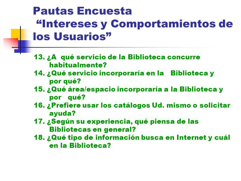 Pautas Encuesta Intereses y Comportamientos de los Usuarios 13. ¿A qué servicio de la Biblioteca concurre habitualmente? 14. ¿Qué servicio incorporarí