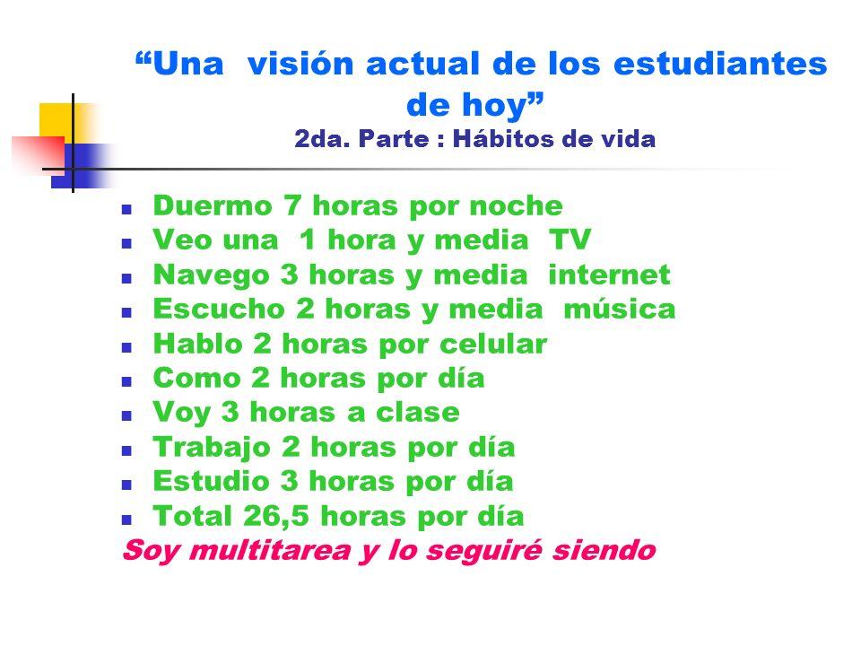 Una visión actual de los estudiantes de hoy 2da. Parte : Hábitos de vida Duermo 7 horas por noche Veo una 1 hora y media TV Navego 3 horas y media int