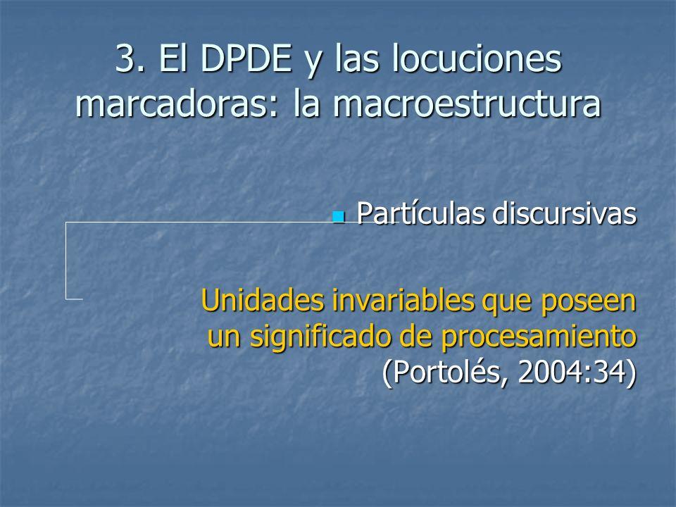 3. El DPDE y las locuciones marcadoras: la macroestructura Partículas discursivas Partículas discursivas Unidades invariables que poseen un significad